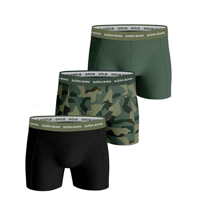 Björn Borg 3 Pack BB Nordic Camo Sammy Shorts Duck Green