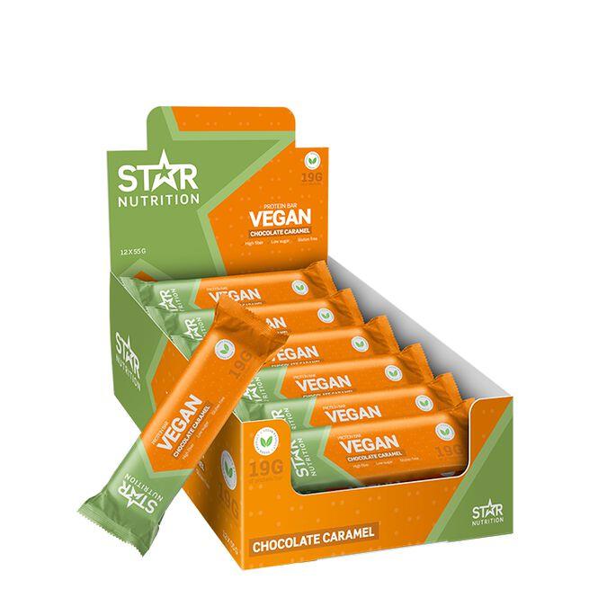 12 x Star Nutrition Vegan Protein bar, 55 g, Caramel Chocolate