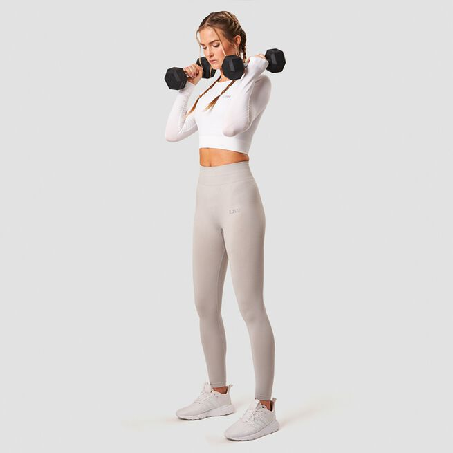 ICANIWILL Define Seamless LS Crop Top White