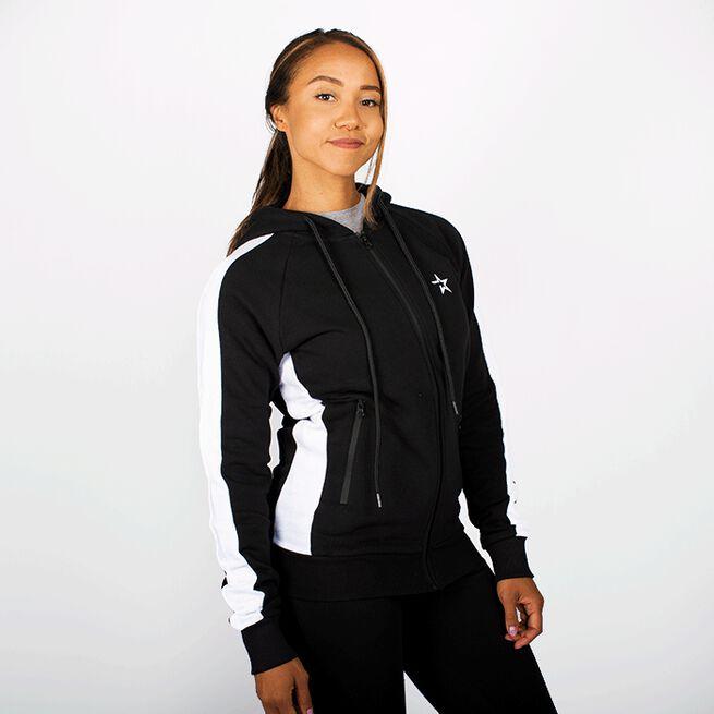 Star Gym  Zip Hood, Black/White