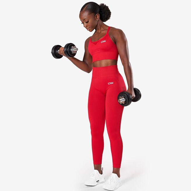 Dynamic Seamless Sports Bra, Deep Red, L