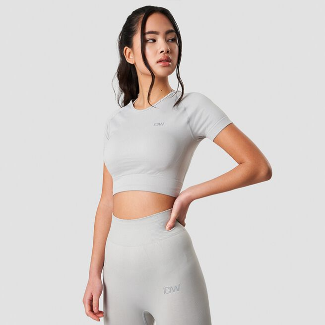 ICANIWILL Define Seamless Cropped T-shirt Light Grey