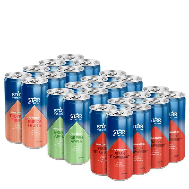 24 x Star Nutrition Amino Energy, 330 ml, Mixade smaker