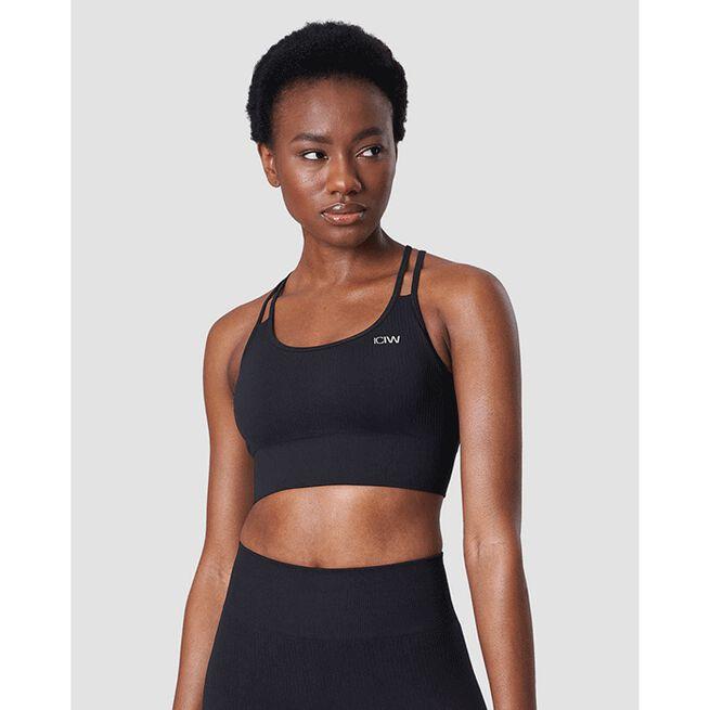 Ribbed Define Seamless Sports Bra, Black, L