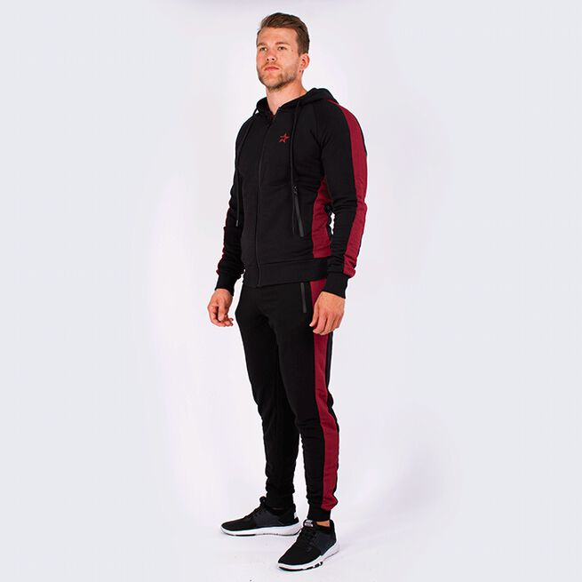 Star Gym  Zip Hood, Black/Maroon