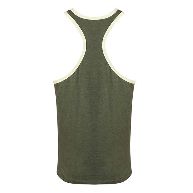 Golds Gym Muscle Joe Contrast String Vest, army/cream