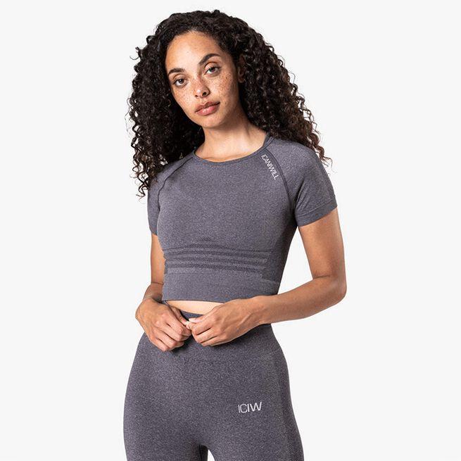 ICIW Define Seamless Cropped T-shirt, Grey Melange